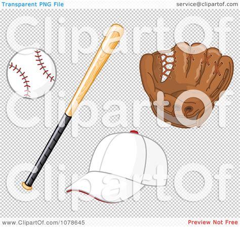 clipart baseball bat glove  hat royalty  vector