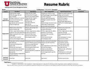 resume rubric With resume evaluation criteria