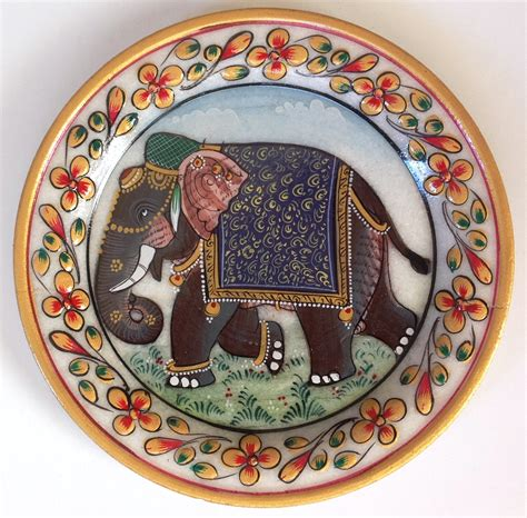 decorative stones india indian 5 marble plate handmade floral elephant home