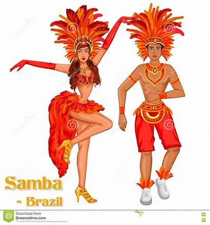 Samba Dance Brazilian Brazil Vector Couple Performing