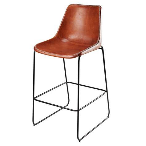 chaise de bar noir chaise de bar en cuir de ch 232 vre marron et m 233 tal noir