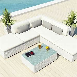 Uduka outdoor sectional patio furniture white wicker sofa for Uduka outdoor sectional patio furniture white wicker sofa set