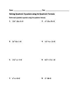 worksheet solving quadratics by quadratic formula by no