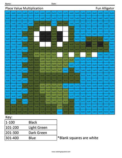 place  multiplication alligator  grade math coloring squared