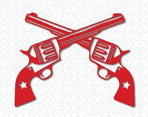 Western Revolver Guns Crossed Decal SVG DXF and AI Vector