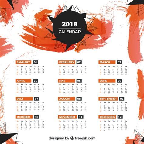 calendar template  orange stains vector