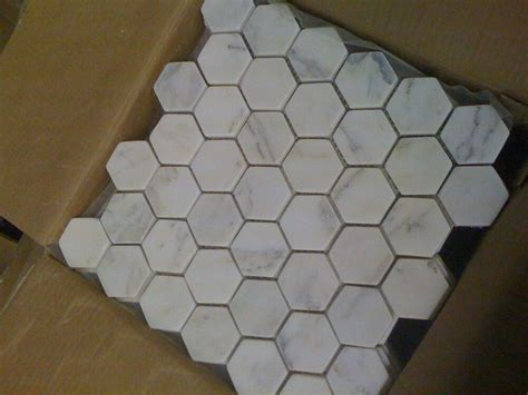 "MARBLE Carrera 2""HEX TUMBLED TILE MOSAIC carrara   eBay"