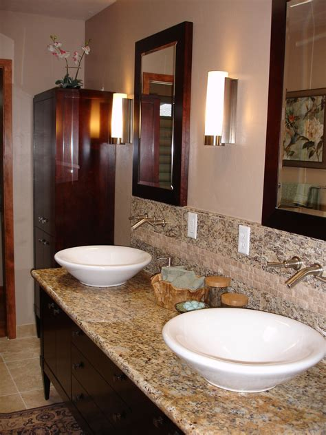 Bathroom Sinks And Faucets Ideas by Vessel Sinks Wall Mounted Faucets And Granite Make This A