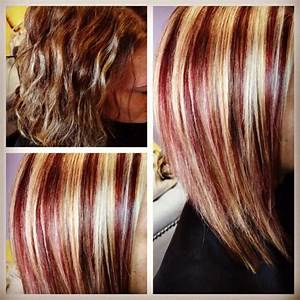 Before & after! I gave her red & blonde highlights! | hair ...