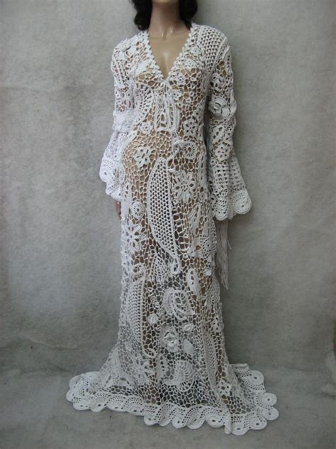 Crochet Dress Crochet Maxi Dress Handmade White Dress