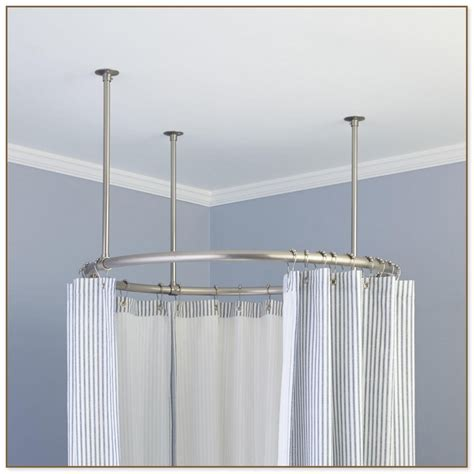 suspended shower curtain rod