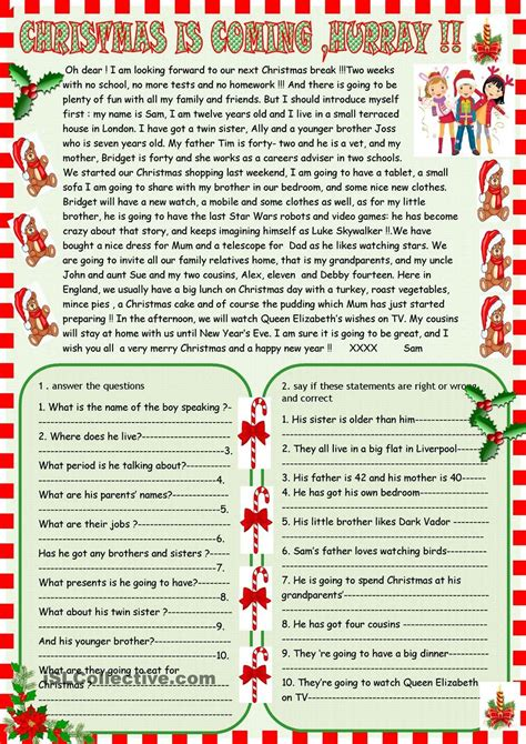 christmas is coming reading comprehension angielski