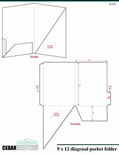 How to plan a 9 x 12 diagonal pocket folder for Pocket folder template illustrator