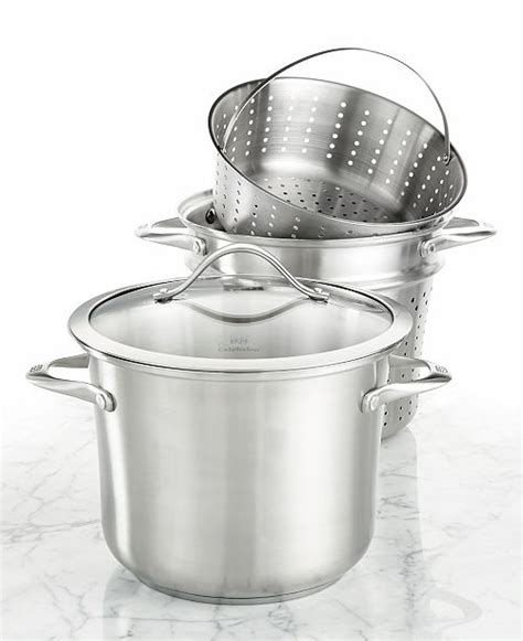 calphalon contemporary stainless steel  qt covered multi pot  strainer steamer inserts