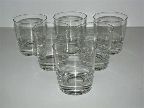 Lot Set 6 Plain Clear Glass Bar Barware Rock Glasses
