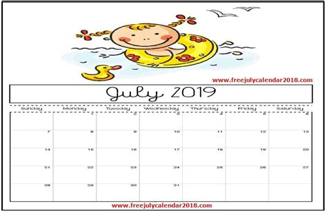 printable july  calendar decorative templates  kids