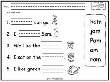 word family printable worksheets   primary place