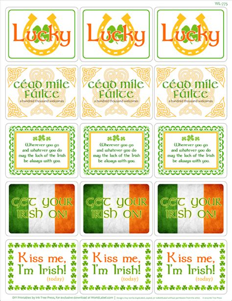 honorary irish st pattys day printable labels worldlabel