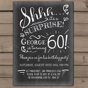 Surprise Birthday Invite Templates Surprise 60th Birthday Invitation Chalkboard Invitation
