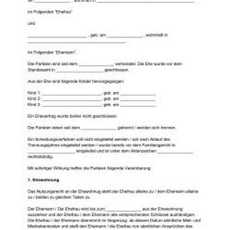 notarielle trennungsvereinbarung muster wohnideen