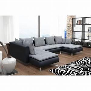 canape d39angle 6 places dante gris et noir avec deux With tapis exterieur avec canapé d angle tissu 6 places
