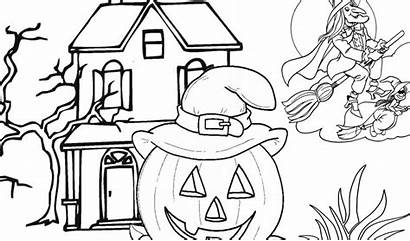 Flying Coloring Witches Pumpkins Halloween Tsgos Tablet