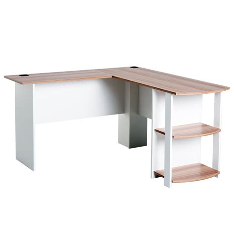 scrivania da scrivania da ufficio daven in legno bianco e noce