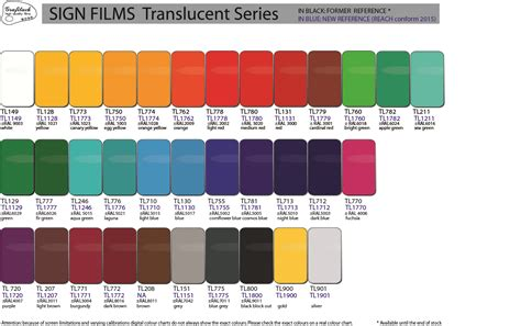 color chart grafityp selfadhesive products colour charts