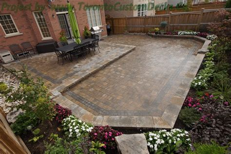 interlocking patio designs backyard patio and interlock project toronto custom deck design pergolas fences outdoor