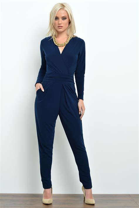 new jumpsuit silk navy blue sleeve jumpsuit clothing