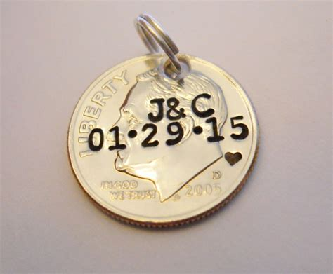 Dime Pendant Keychain Charm 10th