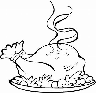 Dinner Thanksgiving Turkey Coloring Pages Clipart Plate