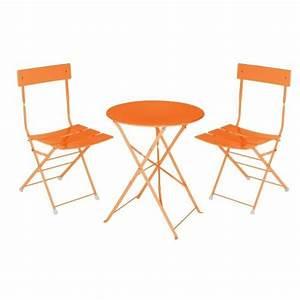Ensemble Table Bistro Metal Orange Achat Vente Salon