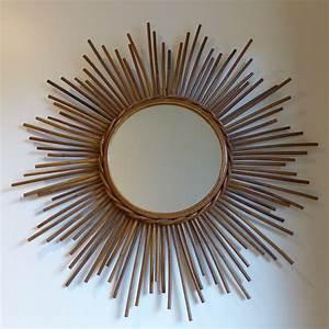 Miroir En Rotin : grand miroir soleil en rotin vintage lignedebrocante ~ Nature-et-papiers.com Idées de Décoration