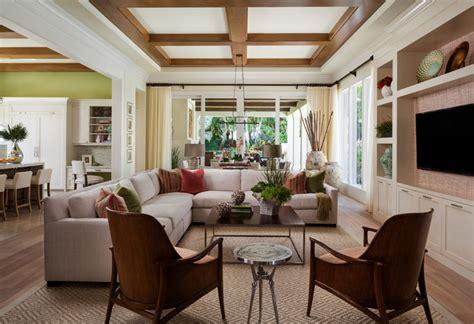 box beam ceilings transitional living room miami