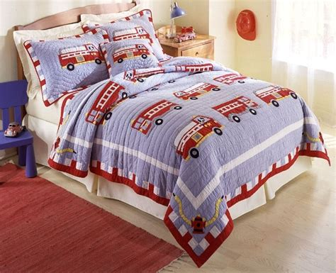 Boy Bedding by Truck 3pc Quilt Set Boys Comforter Engine