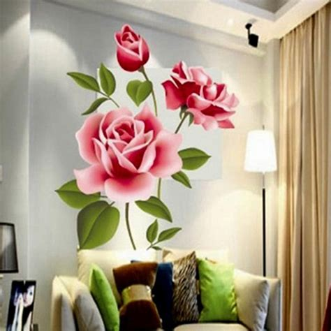 romantic love  rose flower wall sticker tv sofa decor