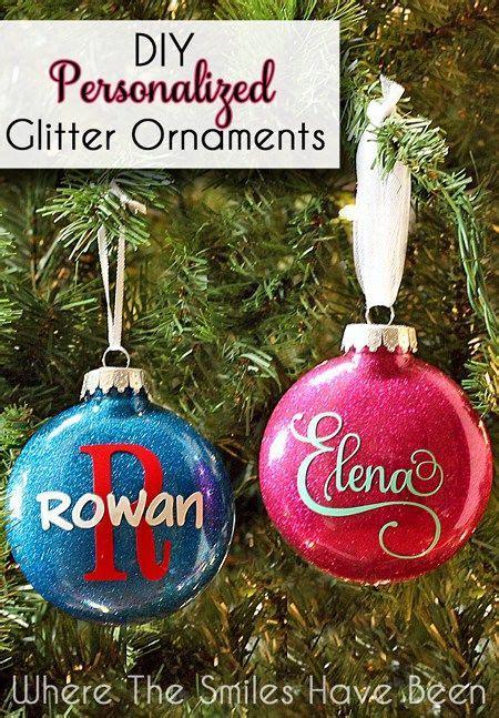 diy personalized glitter ornaments christmas diy diy