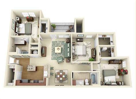 30 Denah Rumah Minimalis 3 Kamar Tidur 3d (tiga Dimensi
