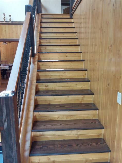 staining wood stairs  railings  north carolina homes