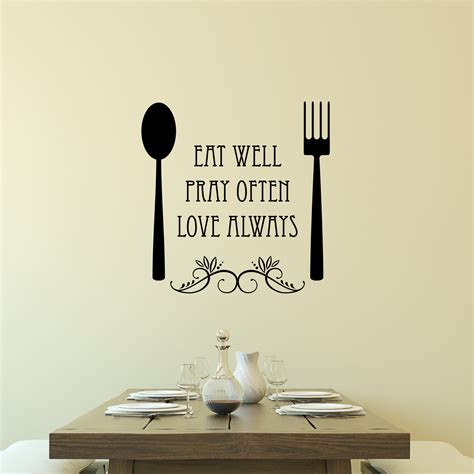 Eat Well Spoon And Fork Wall Quotes™ Decal