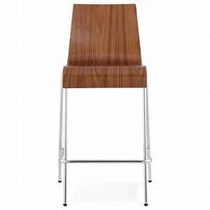 Mini Tabouret Bois : tabouret de bar design mi hauteur saone mini en bois et m tal chrom noyer ~ Teatrodelosmanantiales.com Idées de Décoration