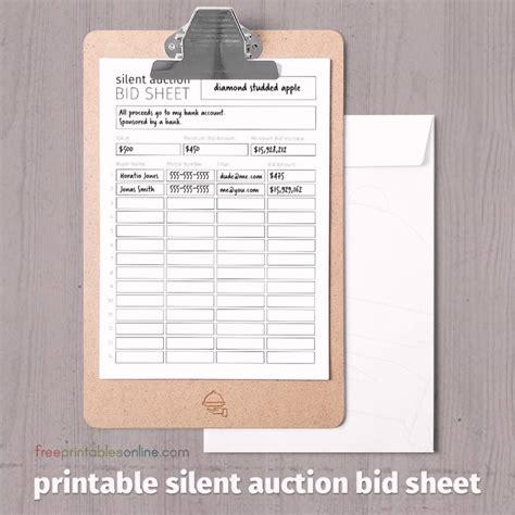 black  white printable silent auction bid sheet