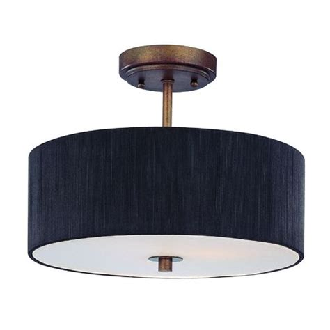 bronze semi flush ceiling light with drum shade 14