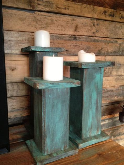 wooden pillar candle holders  rusticwoodhomedesign