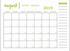 Get August 2019 Printable Calendar Templates Calendar