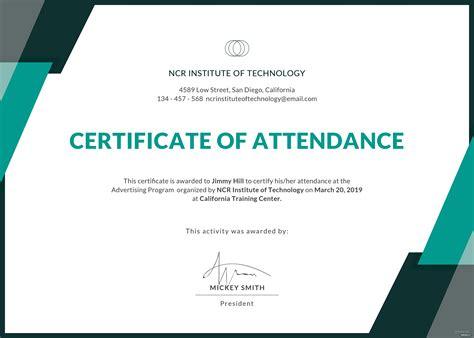 event attendance certificate template  adobe