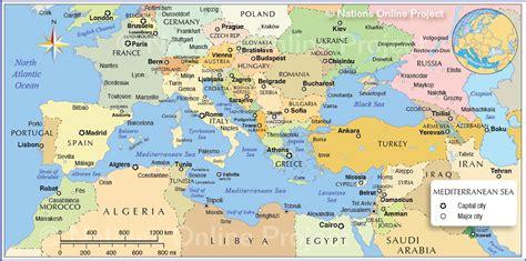 political map   mediterranean region nations