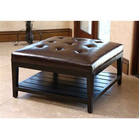 Tufted bi cast leather rustic ottoman with shelf this piece of furniture is able to. ABBYSON LIVING Manchester Dark Brown Leather Square Coffee Table Ottoman - 16735262 - Overstock ...