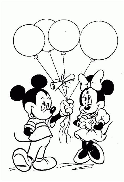 birthday mickey mouse coloring pages  coloring pages